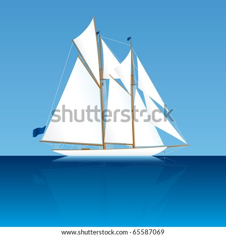 Illustration of an old elegant two-mast sailing yacht - stock vector