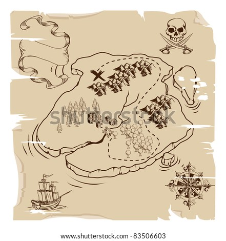 Illustration of an old fashioned pirate island treasure map - stock vector