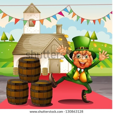 Illustration of an old man in a green attire beside the barrels - stock vector