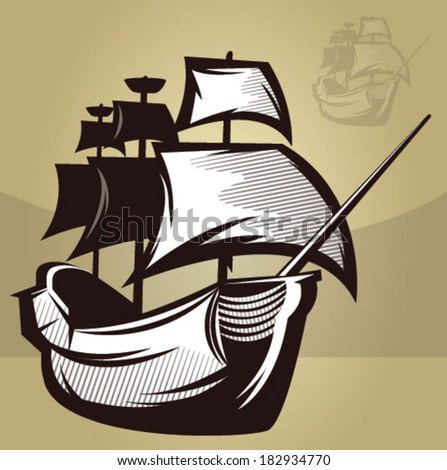 Illustration of an old map style ship/Old World Ship Vector