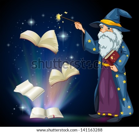 Illustration of an old wizard holding a book and a wand - stock vector