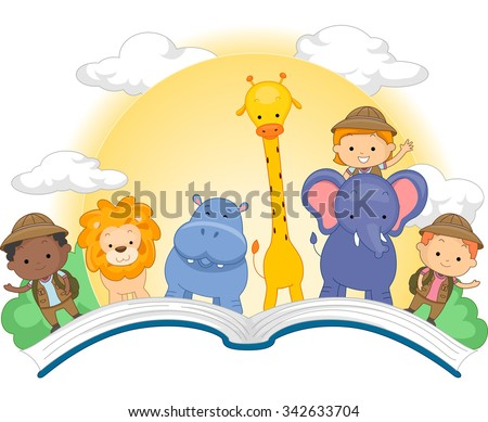 Illustration of an Open Book with Cute Kids and Animals Standing on Top of It - stock vector