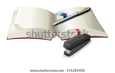 Illustration of an open notebook with a stapler, a pen and an eraser on a white background