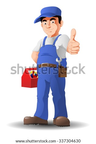illustration of an optimistic mechanic thumb-up on isolated white background - stock vector