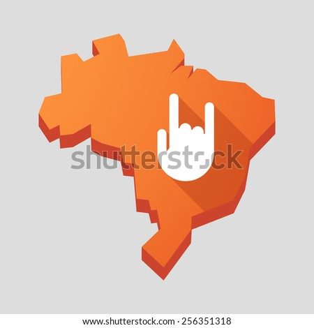 Illustration of an orange  Brazil map with a rock hand - stock vector