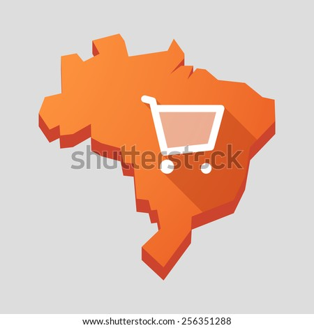 Illustration of an orange  Brazil map with a shopping cart - stock vector