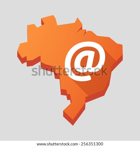"Illustration of an orange  Brazil map with an ""at"" sign - stock vector"