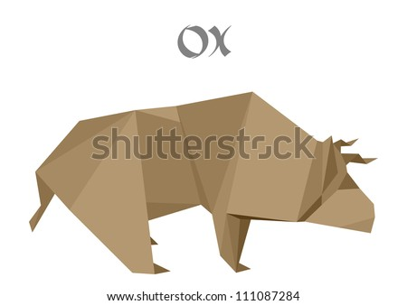 illustration of an origami ox - stock vector