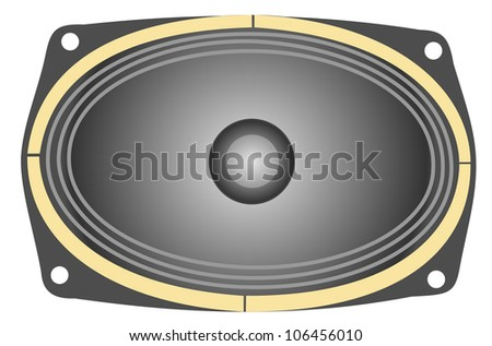 Illustration of an oval speaker on a white background