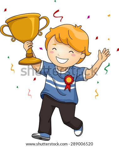 Illustration of an Overjoyed Boy Celebrating His Victory While Waving His Trophy - stock vector