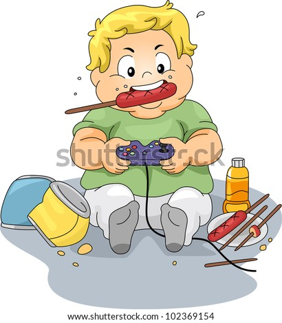 Illustration of an Overweight Boy Playing Video Games - stock vector