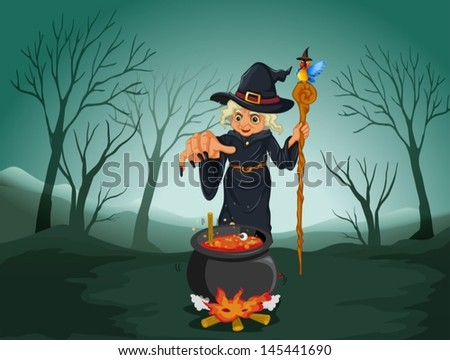 Illustration of an ugly witch holding a cane - stock vector