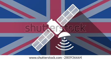 Illustration of an UK flag icon with a satellite - stock vector