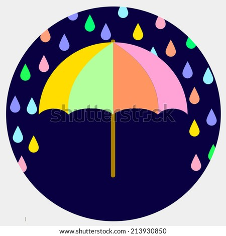 Illustration of an umbrella. Raindrops falling on the umbrella on a dark blue background. Autumn theme. Vector illustration. Abstract pattern. - stock vector