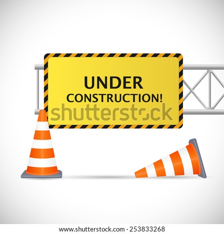 Illustration of an Under Construction sign with safety cones isolated on a white background.