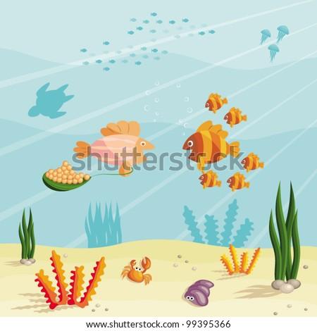 illustration underwater ocean scene small cartoon stock vector rh shutterstock com Cartoon Winter Scenes Cartoon Ocean Background