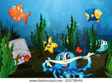 Illustration Underwater Scene Stock Vector 103738646 ...