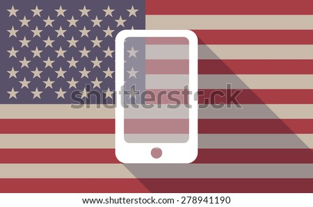 Illustration of an USA flag icon with a phone