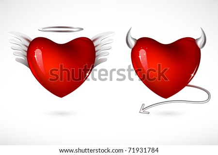 illustration of angel and devil hearts on isolated background - stock vector