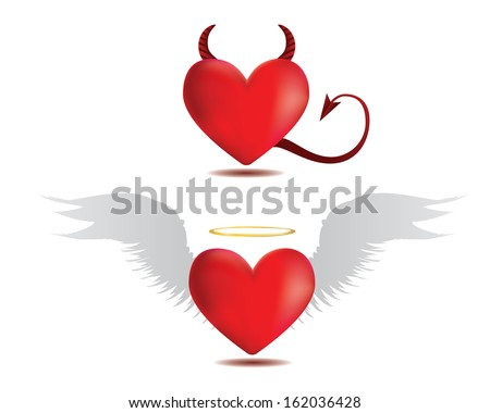 Illustration of angel and devil red hearts on white background. - stock vector
