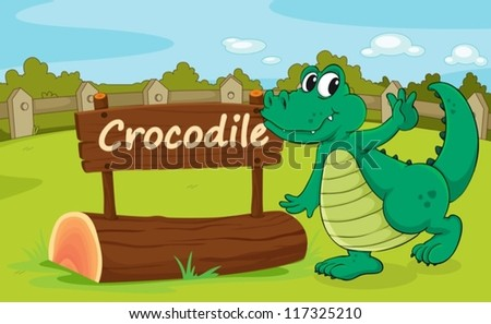 Illustration of animal enclosure at the zoo - stock vector