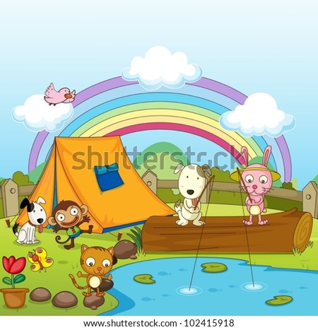Illustration of animals camping and fishing - stock vector