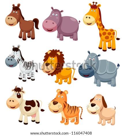 illustration of Animals cartoon.Vector - stock vector