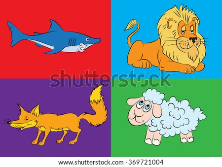 illustration of animation of animals for the children's book   - stock vector