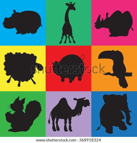 illustration of animation silhouettes of animals for the children's book of riddles   - stock vector