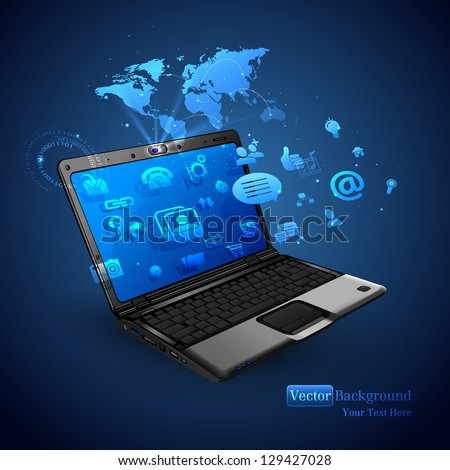 illustration of application coming out of laptop on abstract vector background - stock vector