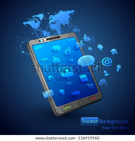 illustration of application coming out of mobile phone on abstract vector background - stock vector