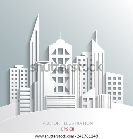 illustration of architectural building in panoramic view - stock vector