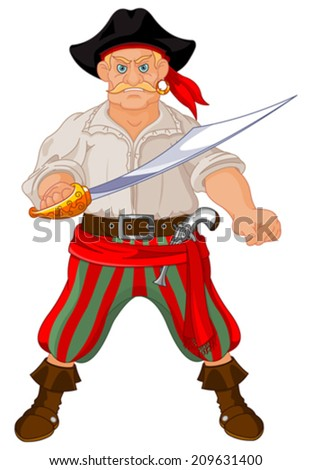 Illustration of Armed pirate - stock vector