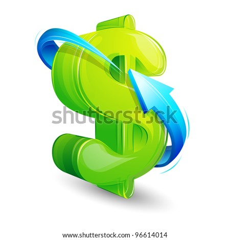 illustration of arrow around glossy dollar on white background - stock vector