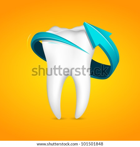 illustration of arrow around tooth on abstract background - stock vector