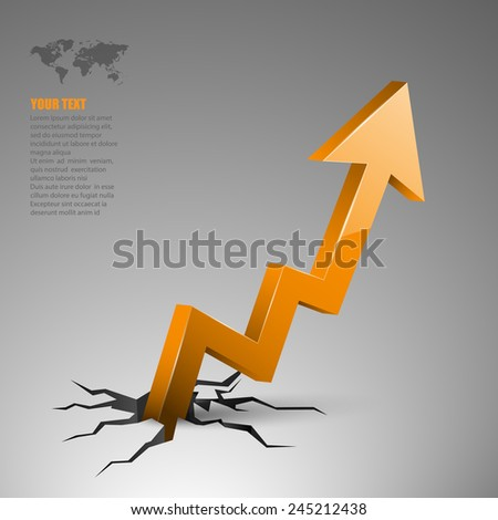illustration of arrow coming out of cracked ground. - stock vector
