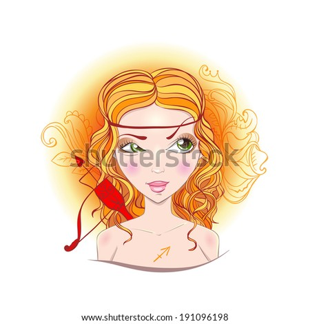 Illustration of astrological sign of Sagittarius. Beautiful fantasy girl. - stock vector