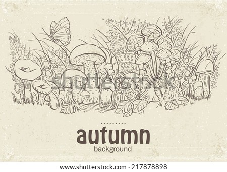 Illustration of autumn mushrooms, grass and butterflies in the loop - stock vector
