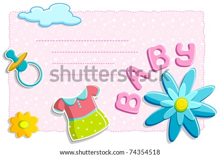 illustration of baby card with flower and other element