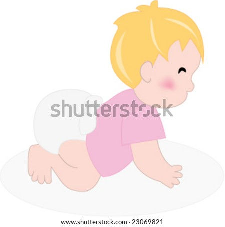 Illustration of baby girl with diaper crawling - stock vector
