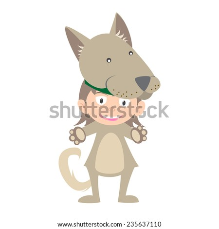 illustration of baby in a dog fancy dress costume vector on white background - stock vector