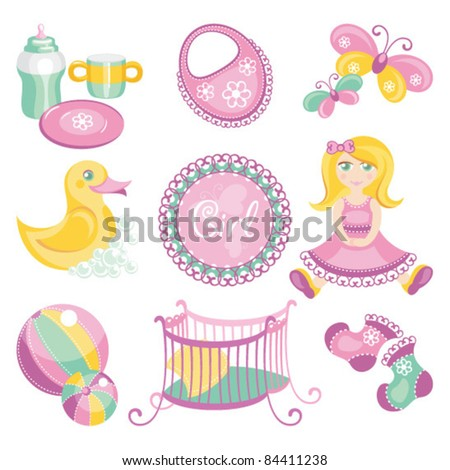 illustration of baby products - stock vector
