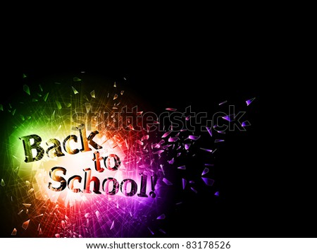 illustration of Back to School message in hole of the broken glass, copyspace - stock vector