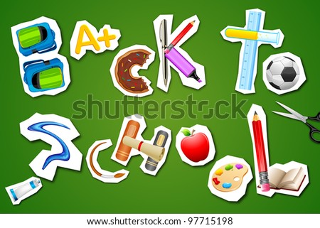 illustration of back to school written with different element - stock vector