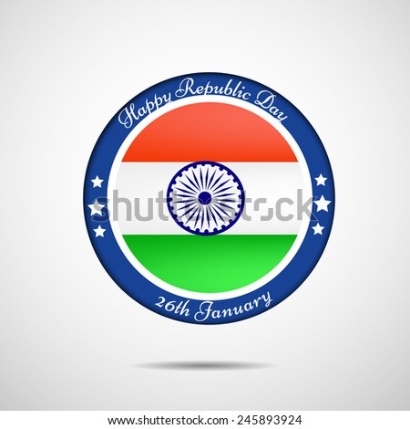 Illustration of Badge with Indian Flag for Republic Day