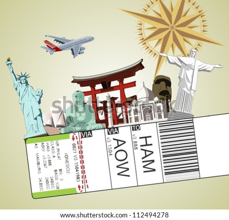 illustration of baggage tag with famous monument around the world - stock vector