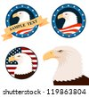 illustration of bald eagle with american flag background - stock vector