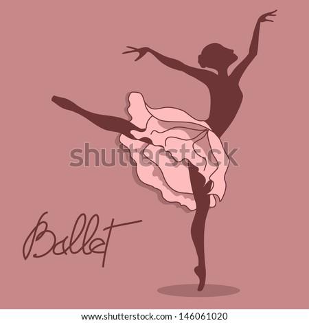 Illustration of ballet dancer with floral tutu - stock vector