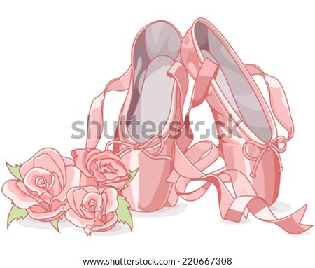 Illustration of ballet slippers with roses - stock vector