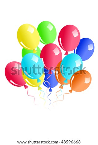 Illustration of ballons isolated on white - stock vector